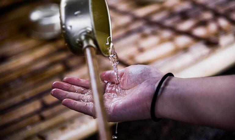 washing outdoors